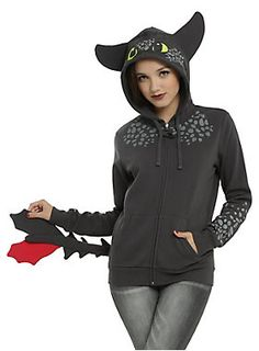 Toothless goodness // How To Train Your Dragon Toothless Cosplay Girls Hoodie