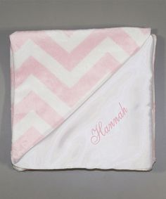 Look at this #zulilyfind! 28'' x 30'' Pink Chevron Personalized Stroller Blanket #zulilyfinds