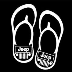 Summer Jeep Logo with Flip Flops Sticker Decal