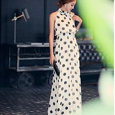Polka Dots Bohemian Chiffon Sleeveless Long Dress