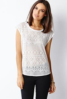 Crochet Lace Woven Top   FOREVER21