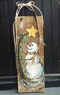 26 Lovely Christmas Wood Signs to Create a Unique Holiday Look - The Trending House Primitive Christmas, Christmas Signs, Rustic Christmas, Christmas Art, Christmas Projects, Winter Christmas, Christmas Decorations, Christmas Ornaments, Snowman Crafts