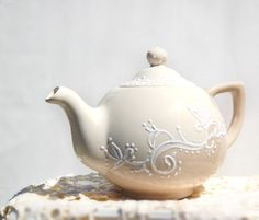 Cream and Mocha lace teapot  hand painted by Dprintsclayful, $58.00