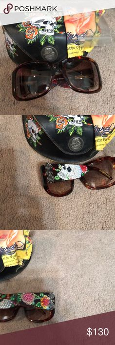 Ed Hardy crystal skull sunglasses. Beautiful tortoise frames with his signature skull style. Does have a few stones missing, but I have the original replacement stones that came with them. So they can easily be replaced. Ed Hardy Accessories Sunglasses