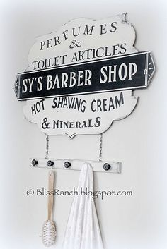 Barbershop sign ideas ( for the bathroom?)