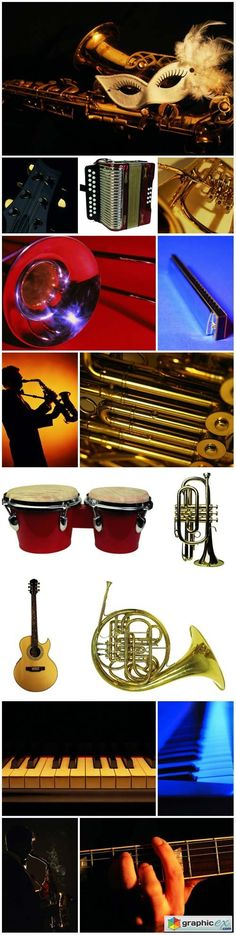 Musical instruments raster graphics  stock images