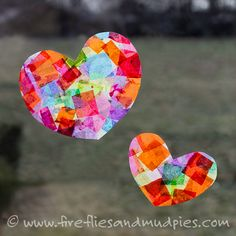 Beautiful Heart Suncatcher Craft. Use bird and large circle / star punches they got for xmas to do tissue paper and also ones they already did from calendar.