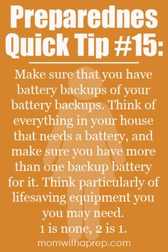 Preparedness Quick Tip #15: Back up your battery back ups #emergency #survival #prep #safe #diy #knowhow #live