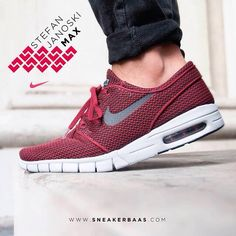 sneakerbaas@nike #nike #stefanjanoski #stefanjanoskimax #sneakerbaas #baasbovenbaas  Stefan Janoski Max- The Janoski Max is constructed with a fully lightweight red mesh upper and a white midsole.  Now online available | Priced 124,95 Euro! | Size 38.5 EU - 46 EU.