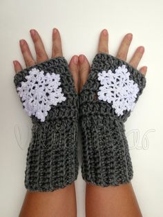 Crochet Snowflake Fingerless Gloves. Grey or 44 Colors. Arm Warmers. White Snowflackes. Winter Accessory for Women and Teens. Arm Cuffs. by VividBear on Etsy