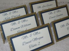 Gold Glitter, Navy Blue and Ivory Tented Place Cards, Escort cards, Name Cards - #104