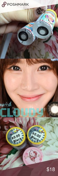 Contact lens Cloudy Black  0.00 100% New  brand Lollipop  Color : Black   eyes contact  1  pair / 30 Day after open  Free contact case hello kitty  Made in Korea  Expiration date is 2021.02.20 Jewelry Earrings