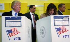 Republican presidential nominee Donald Trump and his wife Melania Trump vote at PS 59 in New York, New York, U.S. November 8, 2016. REUTERS/Carlo Allegri - RTX2SKR2