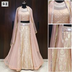 The Royal Essence with a Royal Peach Jacket Style Lehenga Choli. Designer Inspired Brocade and Mirror Work Designer Wear. For Instant Price and Queries Whatsapp - +91-9913433322