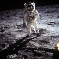 Aldrin strolling the lunar surface - picture taken by Armstrong