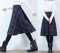 Midi Skirts – Women Winter Check Wool Skirt – a unique product by minyaZhou on DaWanda