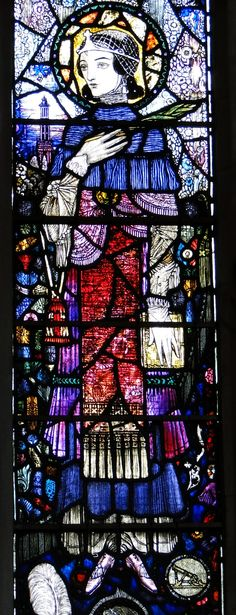 https://flic.kr/p/cCKWph | Sturminster Newton, Dorset | SE aisle window, by Harry Clarke of Dublin, 1921 - Virgin and child flanked by St Elizabeth of Hungary and St Barbara : detail