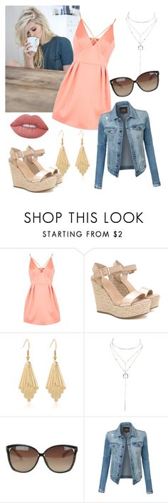 """""""Coffee Date"""" by merylrs ❤ liked on Polyvore featuring Topshop, Charlotte Russe, Linda Farrow, LE3NO and Lime Crime"""
