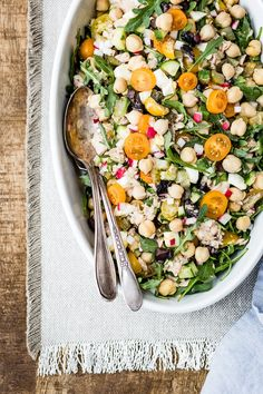 Chickpea Tuna Salad Recipe: A veggie packed, filling, and healthy salad for lunch, picnic, or any family entertaining.