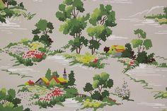 1940's Vintage Wallpaper Farm Scene Bright by RosiesWallpaper