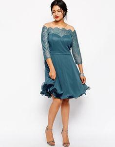 Chi Chi Plus Lace Prom Dress With Bardot Neck