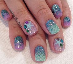 Add some inspiration from under the sea to your next manicure with mermaid nails. Take a peek at some of our favorite mermaid nail art designs. Nails For Kids, Fun Nails, Pretty Nails, Glitter Nails, Beach Nail Designs, Cute Nail Designs, Beach Nail Art, Nail Designs For Summer, Pedicure Ideas Summer