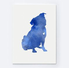 Blue Pug Silhouette Abstract Painting Watercolor Print by Silhouetown on Etsy