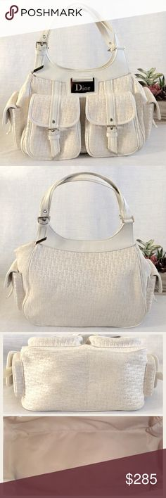 """🌴Host Pick🌴 Chr Dior Diorissimo Bag Girly Girl HP by Jenna @jenna4411 7/10/16💕Auth Christian Dior creme and white Diorissimo canvas and leather handbag.  13.5"""" L x 9"""" H x 7.5"""" D and 8"""" strap drop.  Silver tone hardware white leather trim, two front and side flap pockets, magnetic snap closure, beige fabric lining, interior zip pocket.  Made in Italy.  Serial number 13-BM-0016.  In great condition with normal wear.  No dust bag.  No trades. Dior Bags Satchels"""