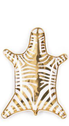 Gold Metallic Zebra Dish