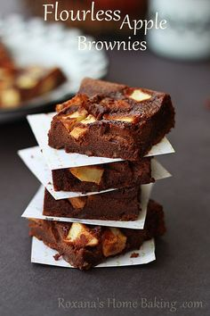 flourless apple brownies #chocolateparty by RoxanaGreenGirl | Roxana's Home Baking