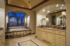 Luxury Master Bathroom... Like the ledge on tub & the lights