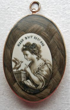 Georgian era love token with sepia on ivory over woven hair