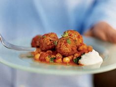 Nancy Silverton got this hearty meatball recipe from Matt Molina, the former chef de cuisine at Campanile. When the meatballs are almost cooked throug Lamb Recipes, Meatball Recipes, Sauce Recipes, Wine Recipes, Cooking Recipes, Healthy Recipes, Meat Recipes, Best Meatballs, Lamb Meatballs