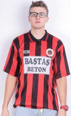Asics Gençlerbirliği Spor Kulübü Mens XL Shirt Short Sleeve Striped Red Black Sport Club