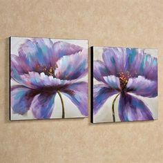 Purple Blooms Floral Canvas Wall Art Set