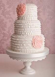 Ruffle 3 Tier Wedding Cake with ruffle flowers.