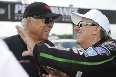 Two of the greatest Funny Car drivers of all time, Don Prudhomme and John Force have a conversation at the 2013 U.S. Nationals