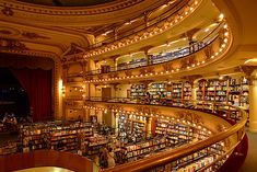 A LIBRARY IN A THEATRE! This is a book store called El Ateneo in Buenos Aires, Argentina! You can have coffee while sitting on the stage. LOVE!