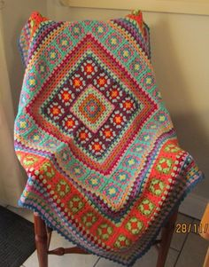 Stunning multi-coloured OOAK hand crocheted retro style granny square blanket #Handmade