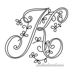 for Hand Embroidery: Delicate Spray J, K, L Monogram for Hand Embroidery via Mary Corbet: K Hand Embroidery Letters, Hand Embroidery Designs, Ribbon Embroidery, Cross Stitch Embroidery, Embroidery Patterns, Machine Embroidery, Crochet Pillow, Hand Lettering, Needlework