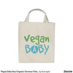 Vegan Baby Boy Organic Grocery Tote Bag
