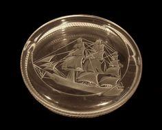 Signed Lalique Sailing Ship Crystal Ashtray