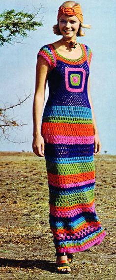 70s Bright Striped Mod Short Sleeved Maxi Dress Crochet PDF Pattern - Eco Friendly - INSTANT Download