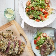 Herb-Crusted Lamb with Rocket and Cherry Tomato Couscous Mint Herb, Arugula, Couscous, Cherry Tomatoes, I Foods, Cobb Salad, Lamb, Herbs