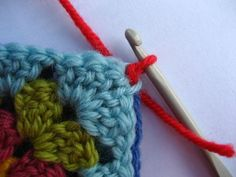 Crochet - pictorial guide to joining granny squares.