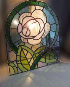 vitral de medio punto en vidrio emplomado