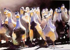basse-cour.jpg - Painting,  60x80 cm ©2014 par jean guy DAGNEAU -                                                            Art figuratif, Papier, La vie rurale, ombres et lumières
