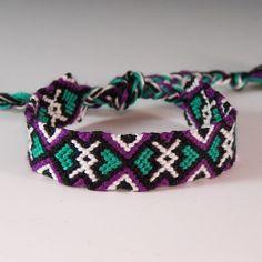 Teal Heart Frienship Bracelet / Friendship Jewelry / Purple Black Teal White