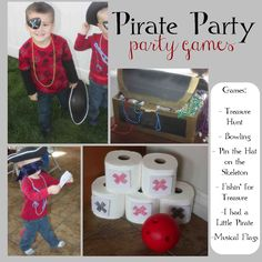 just Sweet and Simple: Kids Pirate Party Games I have a mickey mouse bowling game, I can print pirate printables to put on them and use them for the party. Pirate Party Games, Pirate Party Invitations, Kids Party Games, Pirate Games For Kids, Pirate Day, Pirate Birthday, Pirate Theme, 3rd Birthday, Double Birthday Parties