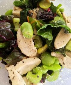 Gluten-Free Tried and True: Lemon-Garlic Fava Bean, Chicken & Chard Salad